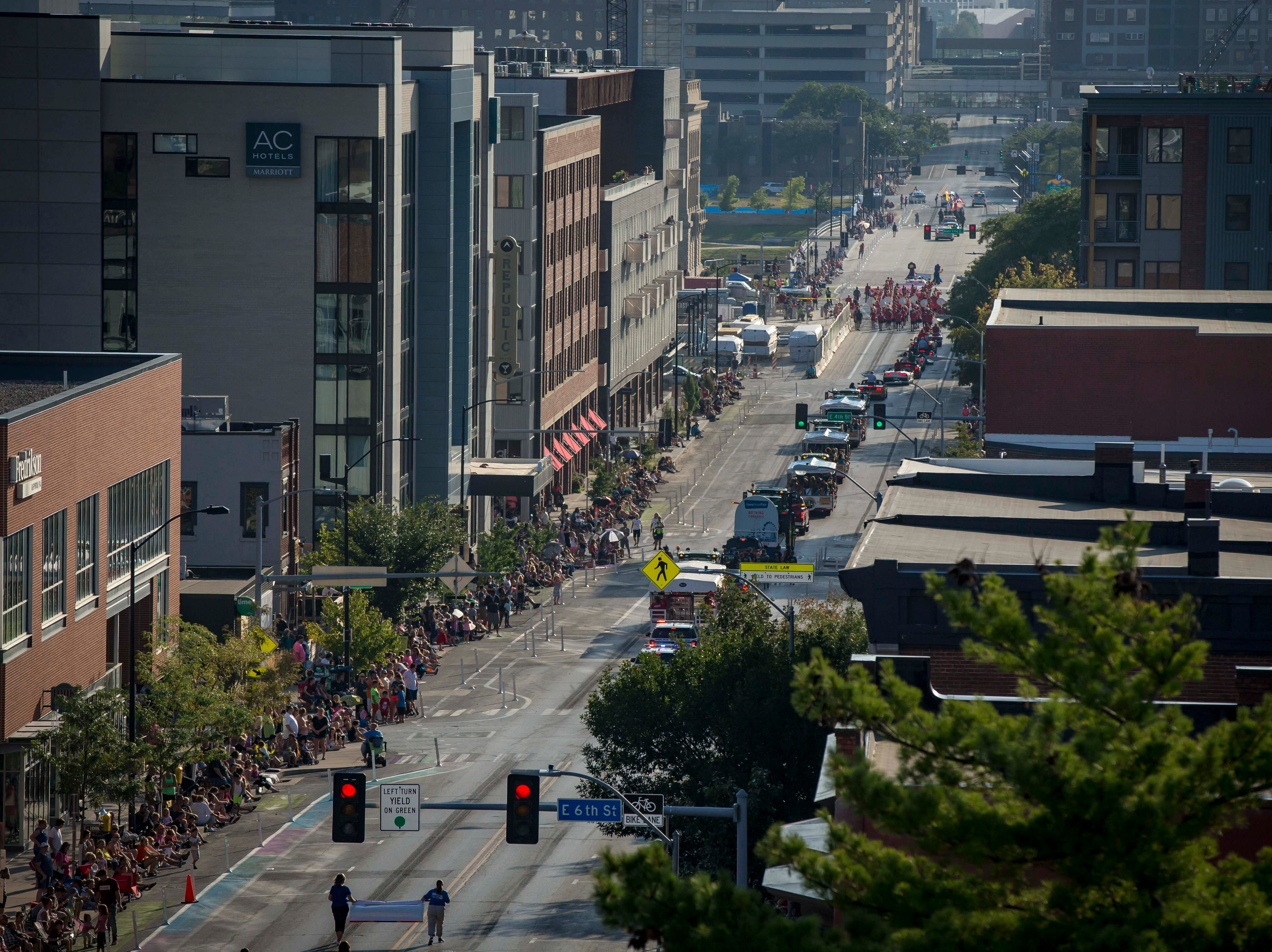 The 2018 Iowa State Fair parade moves from the Statehouse to downtown Des Moines Wednesday, Aug. 8, 2018. The Iowa State Fair runs from Aug. 9Ð19.