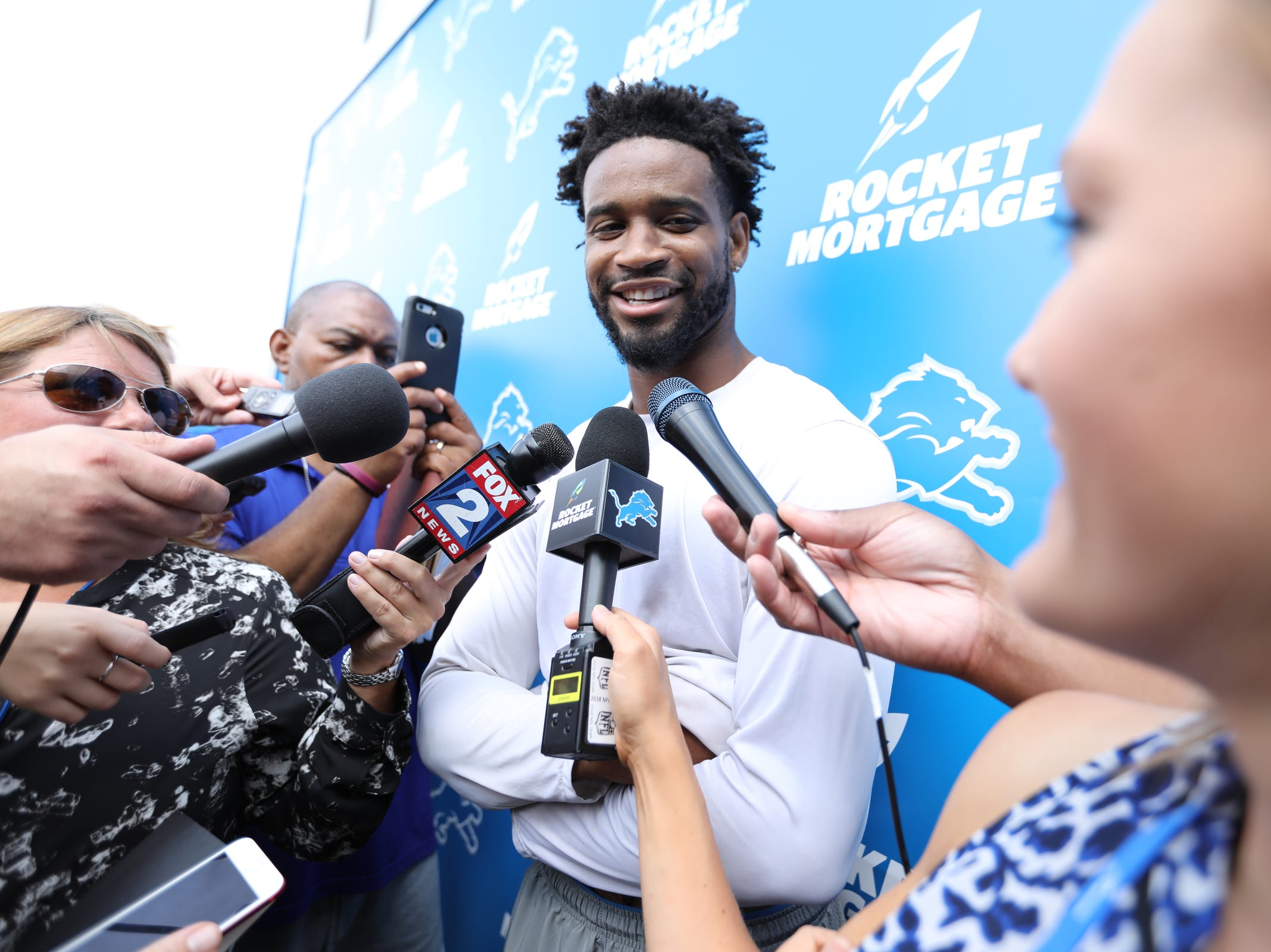 Cornerback Darius Slay speaks to the press after the Detroit Lions training camp at their practice facility in Allen Park, Mich. on Sat. July 28, 2018.