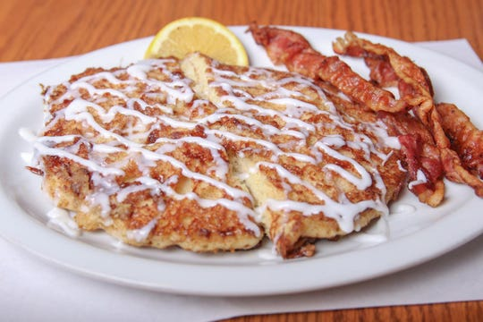 Cinnamon Roll Pancakes at Toast 'N Jams in Norton Shores. The cozy, comforting feel of Toast 'N Jams welcomes residents of Norton Shores and visitors alike.