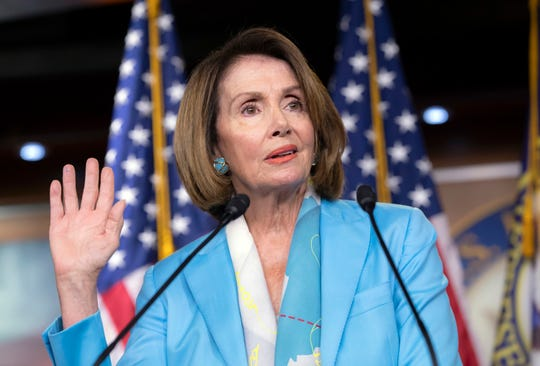 House Minority Leader Nancy Pelosi, D-Calif., speaks to reporters about the Trump Administration immigration policy of family separations on Capitol Hill in Washington, Thursday, July 26, 2018.