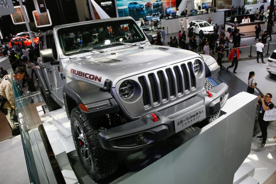 A Jeep Wrangler Rubicon Limited is presented during Auto China 2018 motor show in Beijing, China in April 2018.