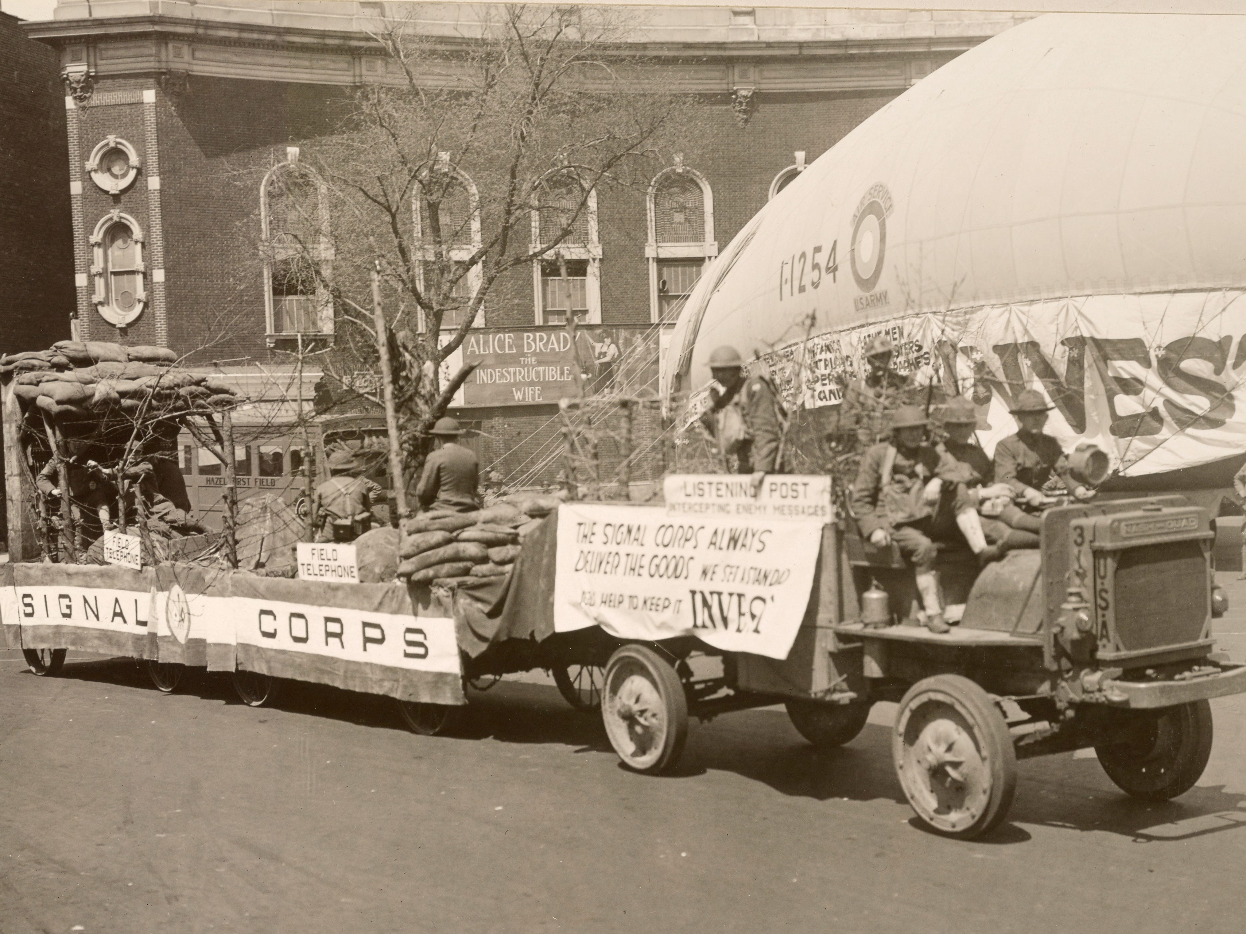 The U.S. Signal Corps has a float in the welcome home parade in New York City on May 3, 1919.
