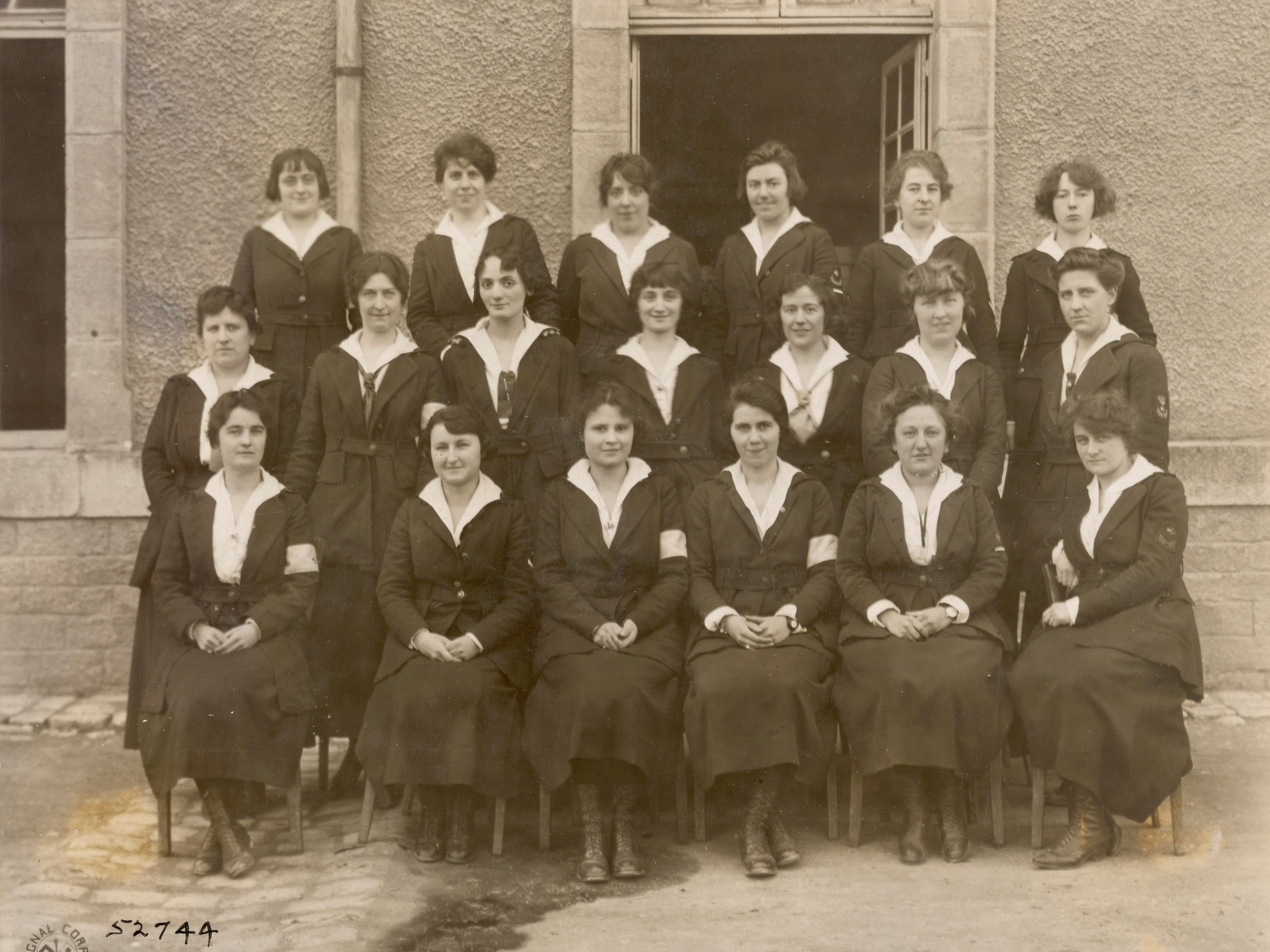 Oleda Joure is in the front row, third from left, in this photo of Signal Corps telephone operators at headquarters in Chaumont, France.