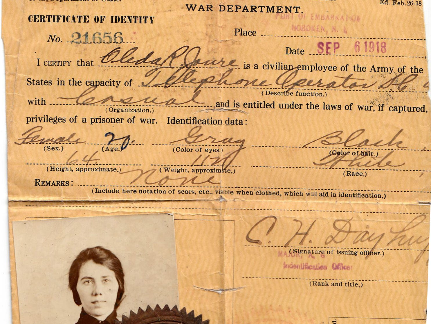 """The U.S. Army ID for Marine City resident Oleda Joure.  She was a """"Hello Girl,"""" a telephone switchboard operator for the Army in France from 1918 to 1920."""