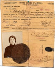 "The U.S. Army ID for Marine City resident Oleda Joure.  She was a ""Hello Girl,"" a telephone switchboard operator for the Army in France from 1918 to 1920."