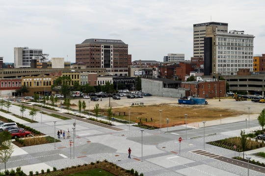 The fourth floor of the new Stone Family Center for Health Sciences offers an expansive view of Downtown Evansville.