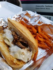 Queen B's popular Italian beef sandwich with pickled peppers and melted provolone cheese on a toasty long roll. Choose any sandwich with regular or sweet potato fries.