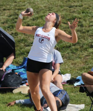 Port Clinton's Rachel Simpson, competing in the finals at the state meet in the shot put as a senior, is one of the athletes in this year's Michael K. Bosi series.