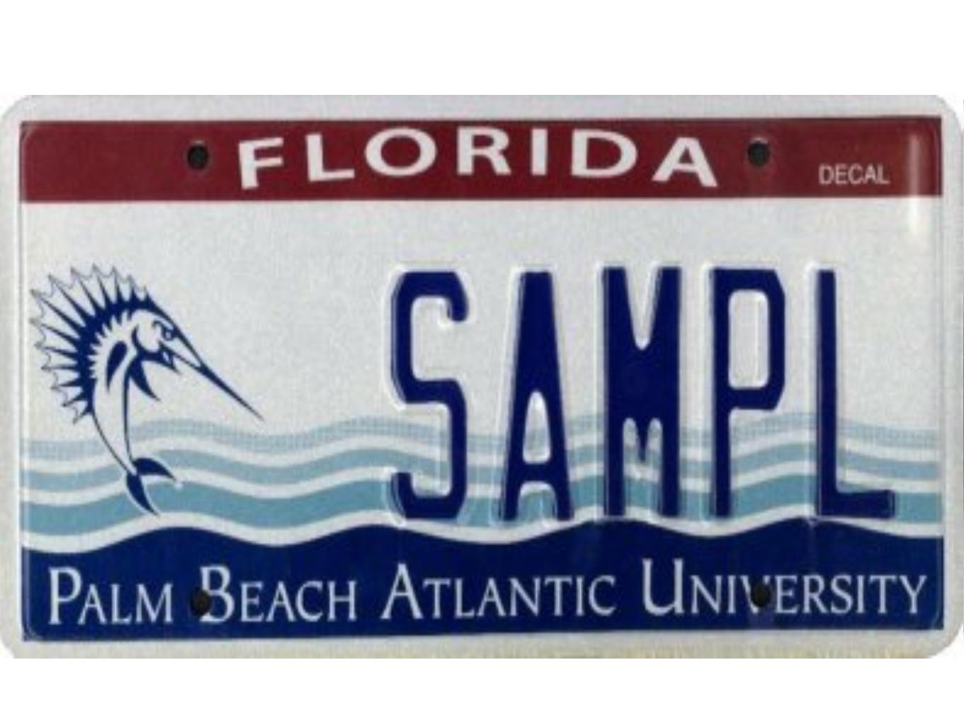 The Palm Beach Atlantic University license plate.