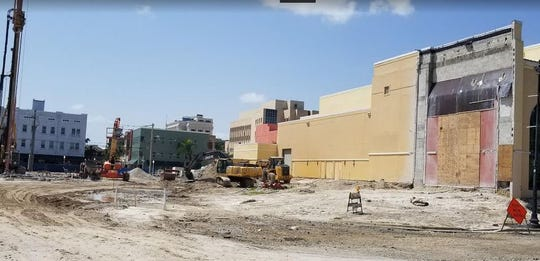 Portions of the Harborside Event Center have been prepared for eventual connection to the new Hotel Luminary in downtown Fort Myers. Construction has begun even as a dispute over who owns the land plays out in a court suit.