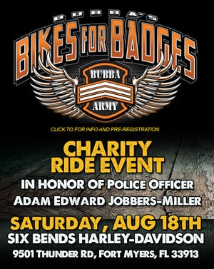 Motorcycle ride planned Aug. 18 to honor slain Fort Myers police officer Adam Jobbers-Miller.