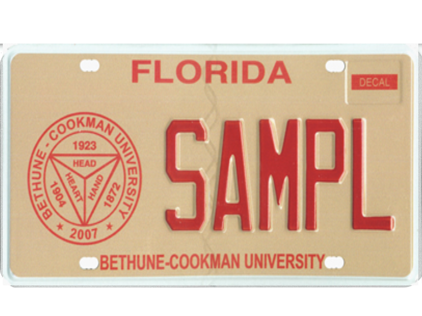The Bethune-Cookman University license plate.