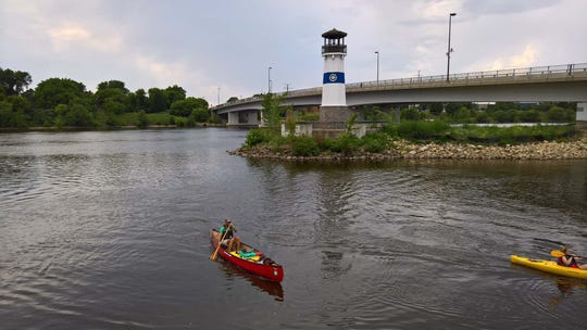 Erik Elsea arrived at Boom Island in Minneapolis on July 29 as he navigates the Mississippi River south to the Gulf of Mexico from the headwaters.