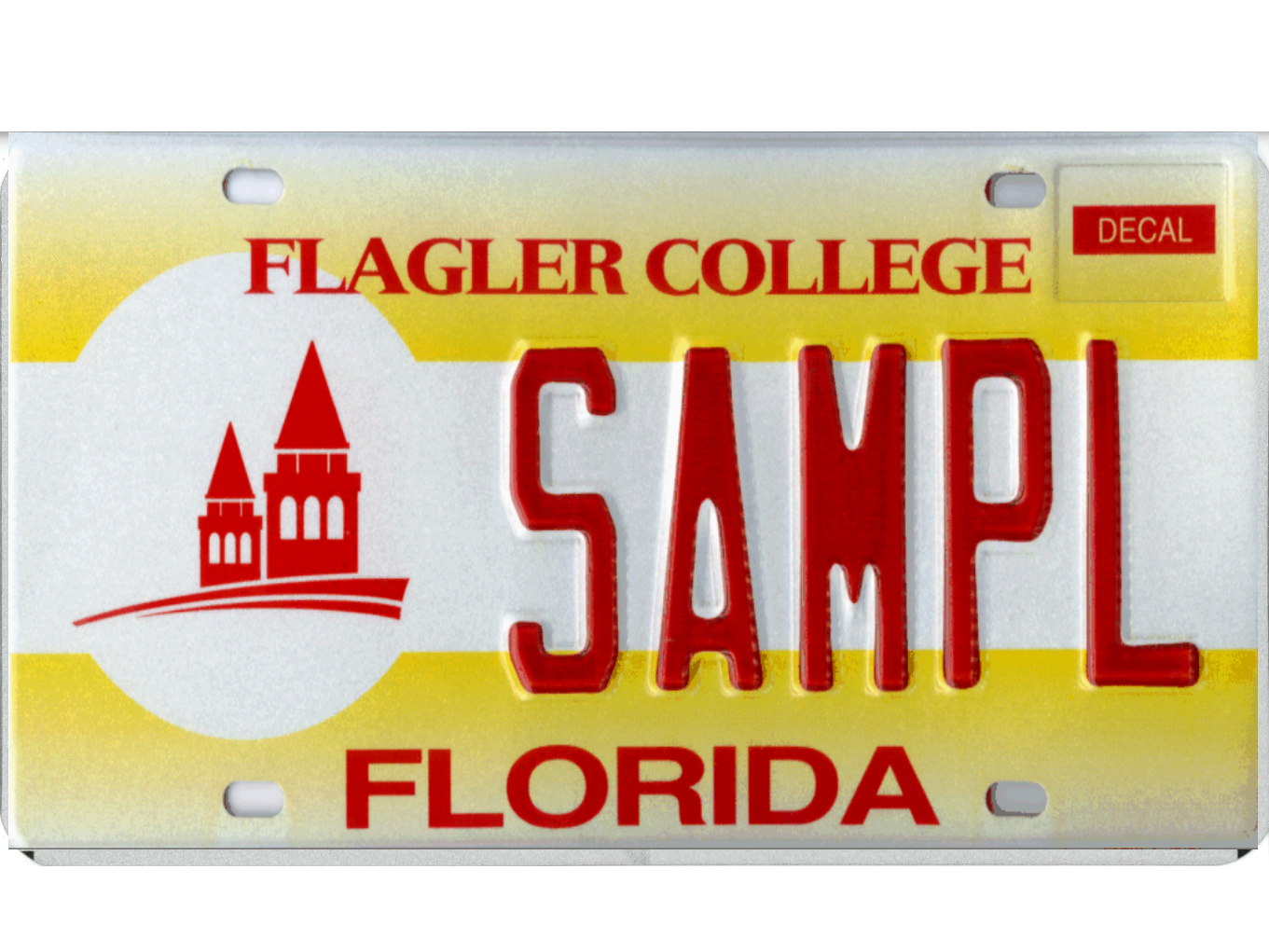 The Flagler College license plate.