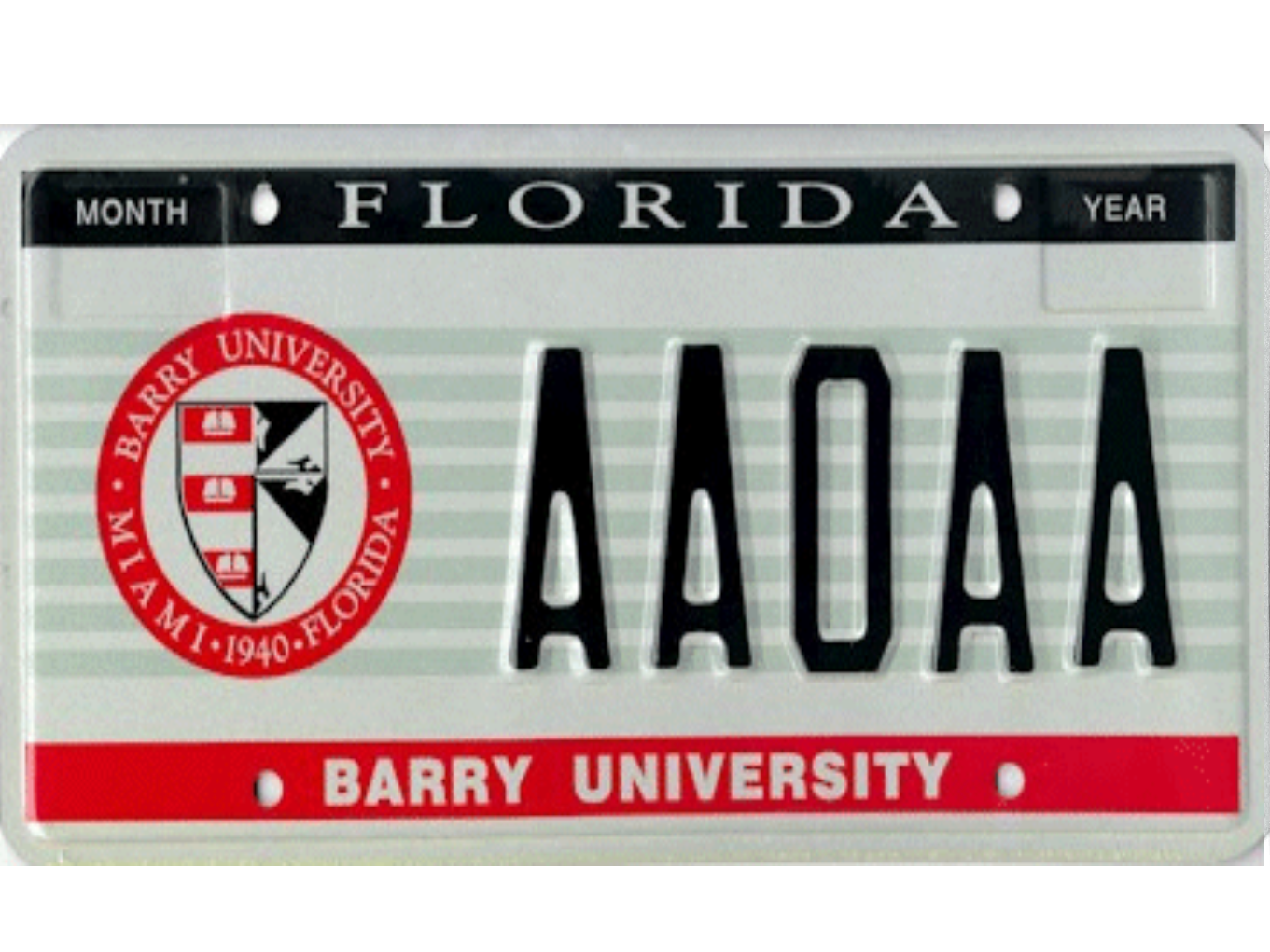 The Barry University license plate.