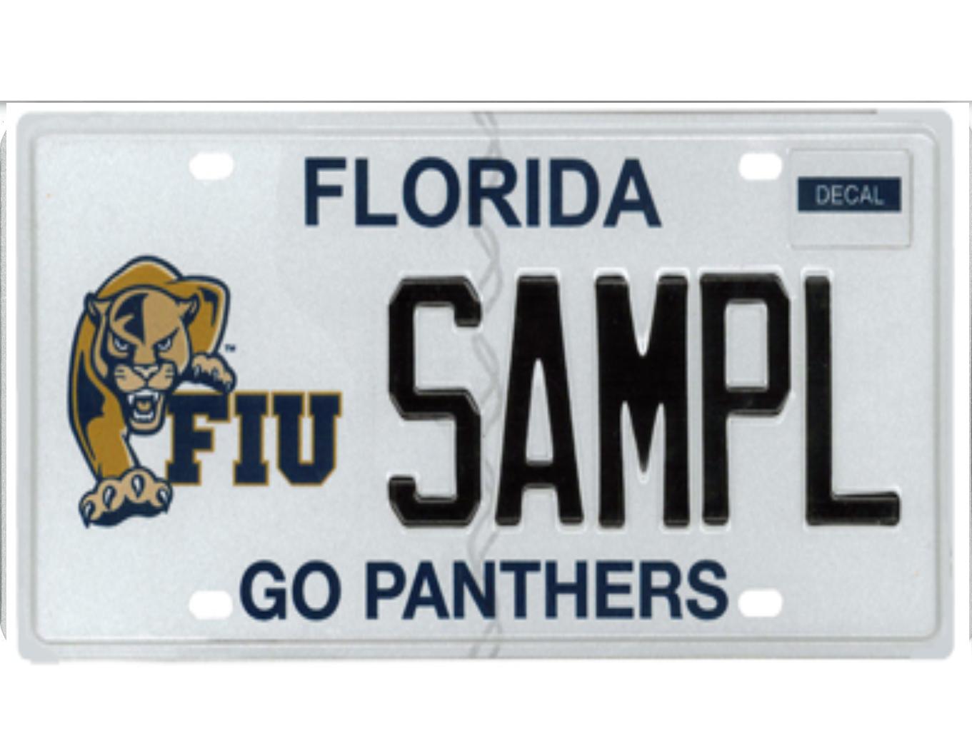 The Florida International University license plate.