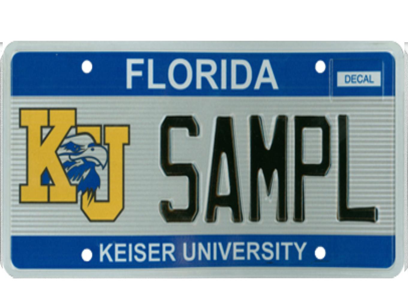 The Keiser University license plate.