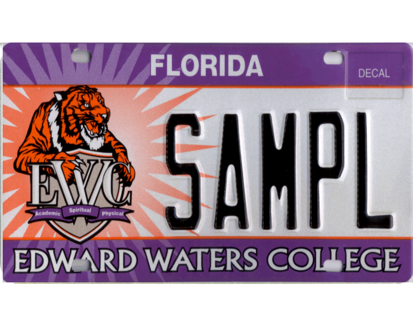 The Edward Waters College license plate.