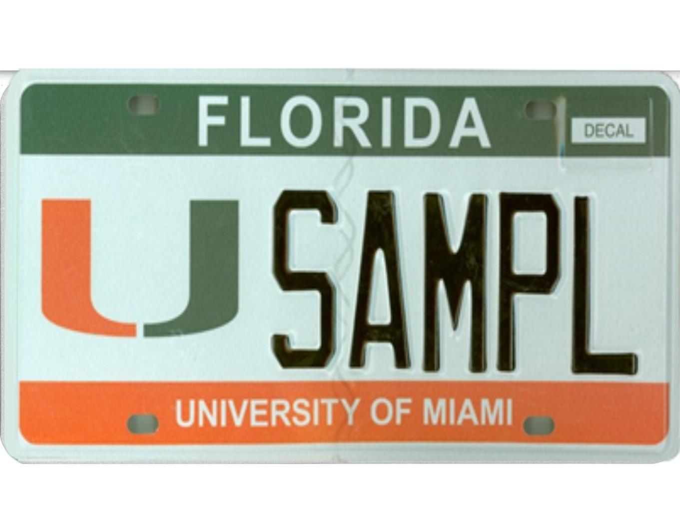 The University of Miami license plate.