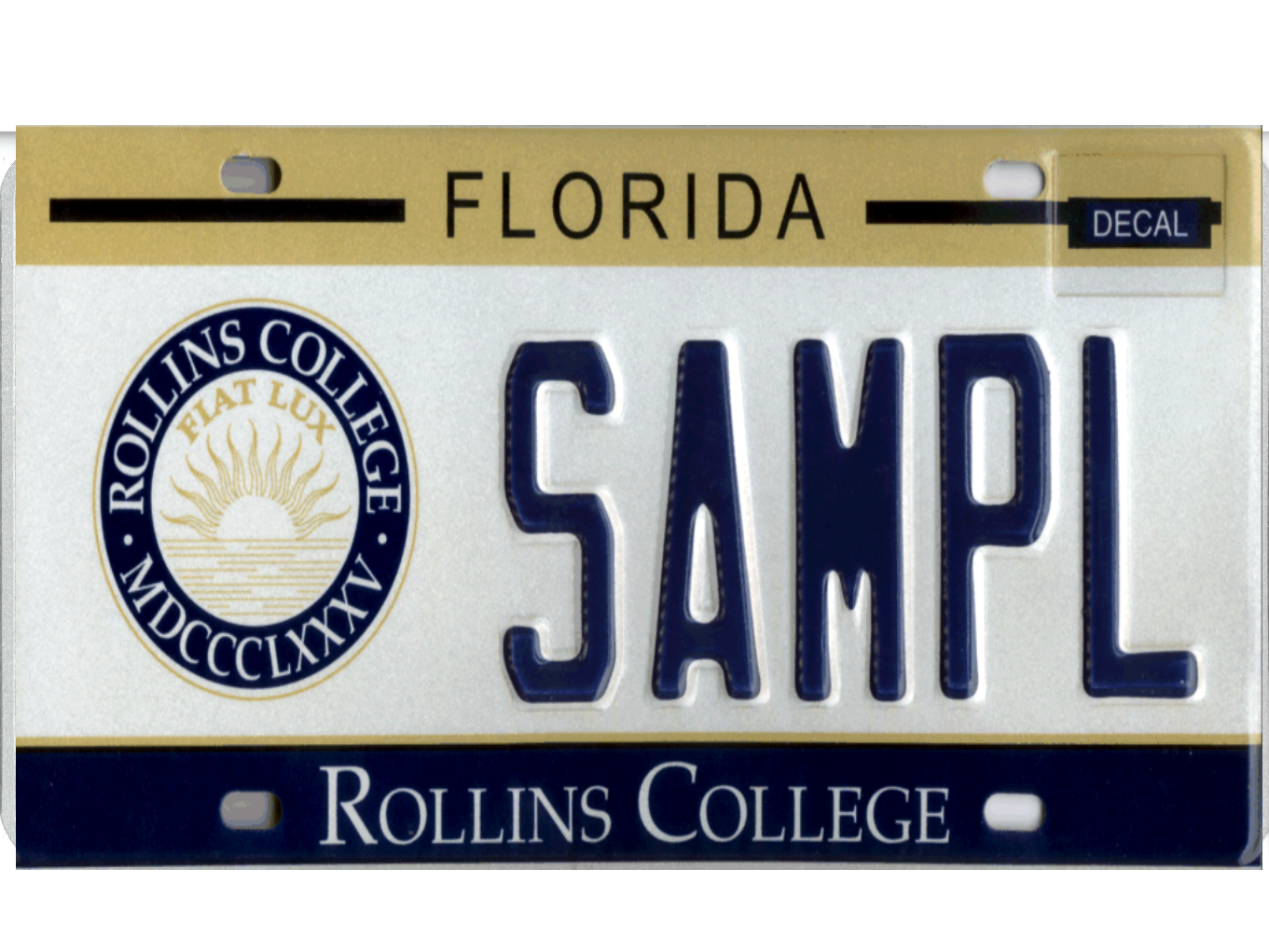 The Rollins College license plate.