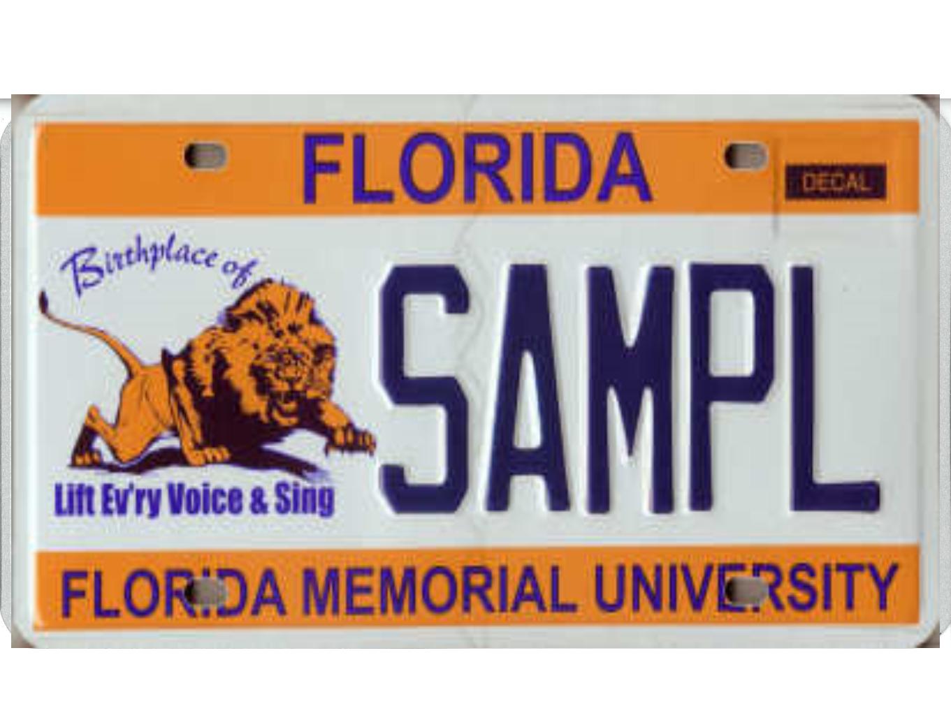The Florida Memorial University license plate.