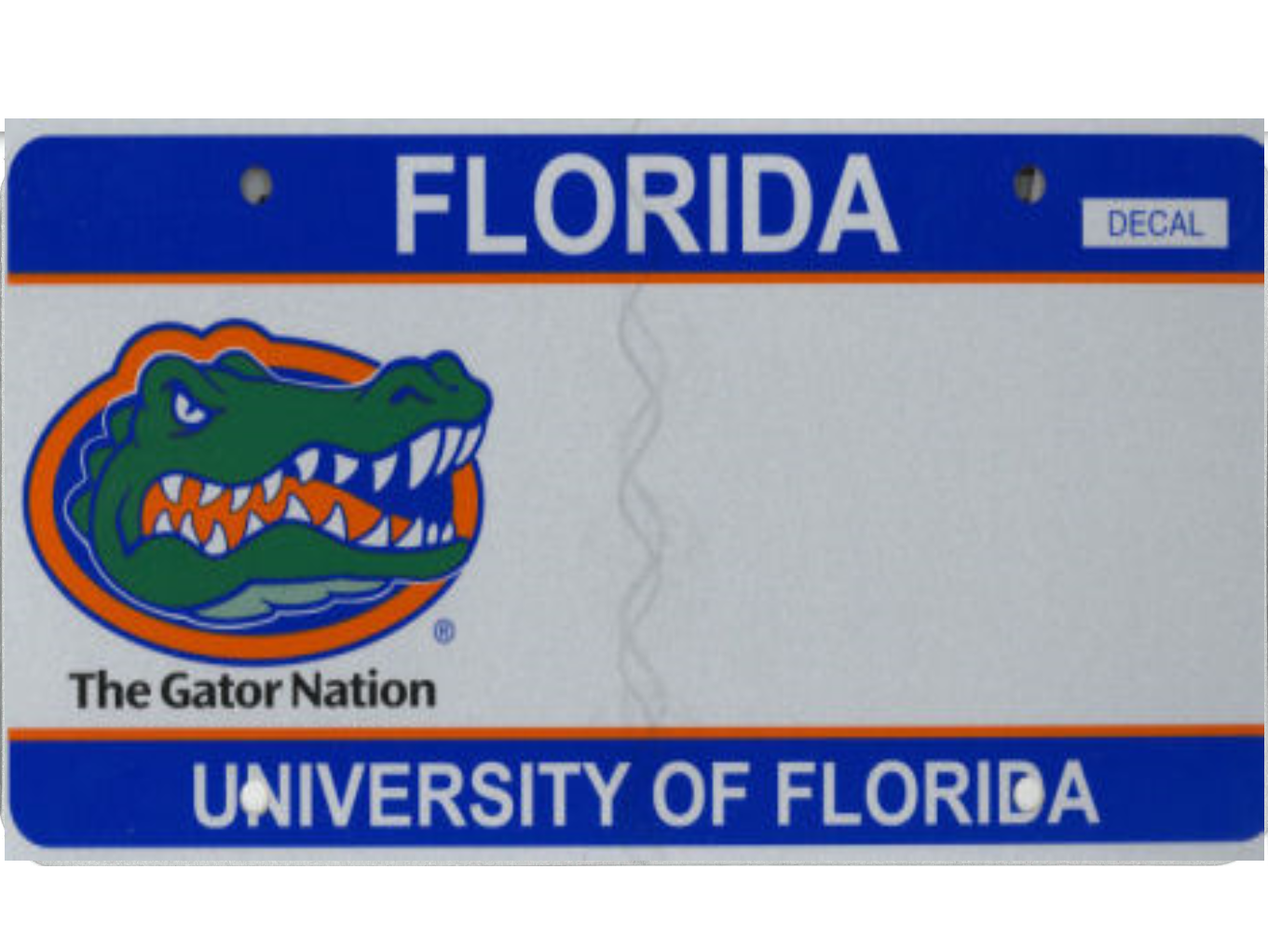 The University of Florida license plate.