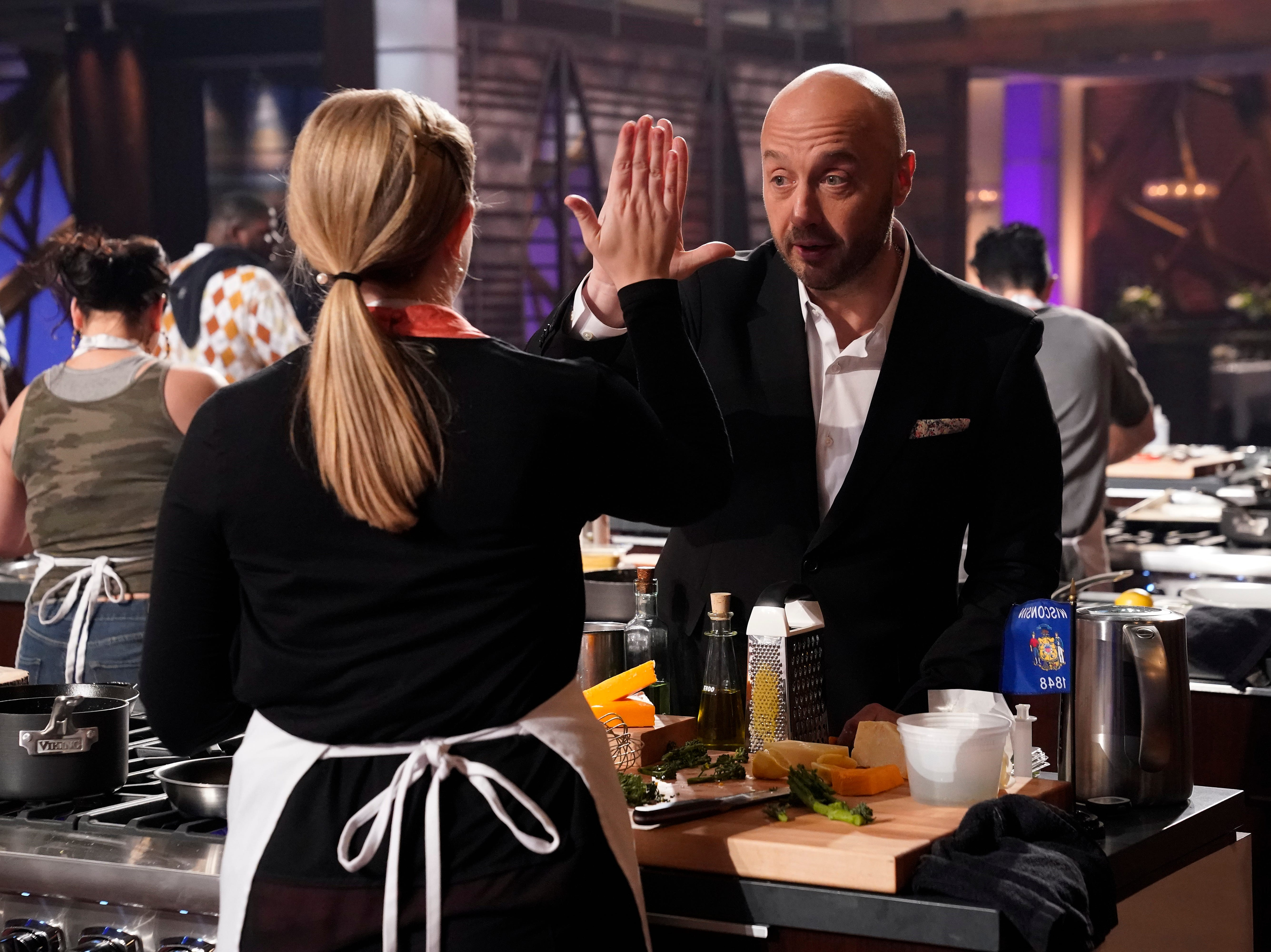 """MasterChef"" Judge Joe Bastianich gave Emily Hallock one of his aprons allowing her to compete on the show."