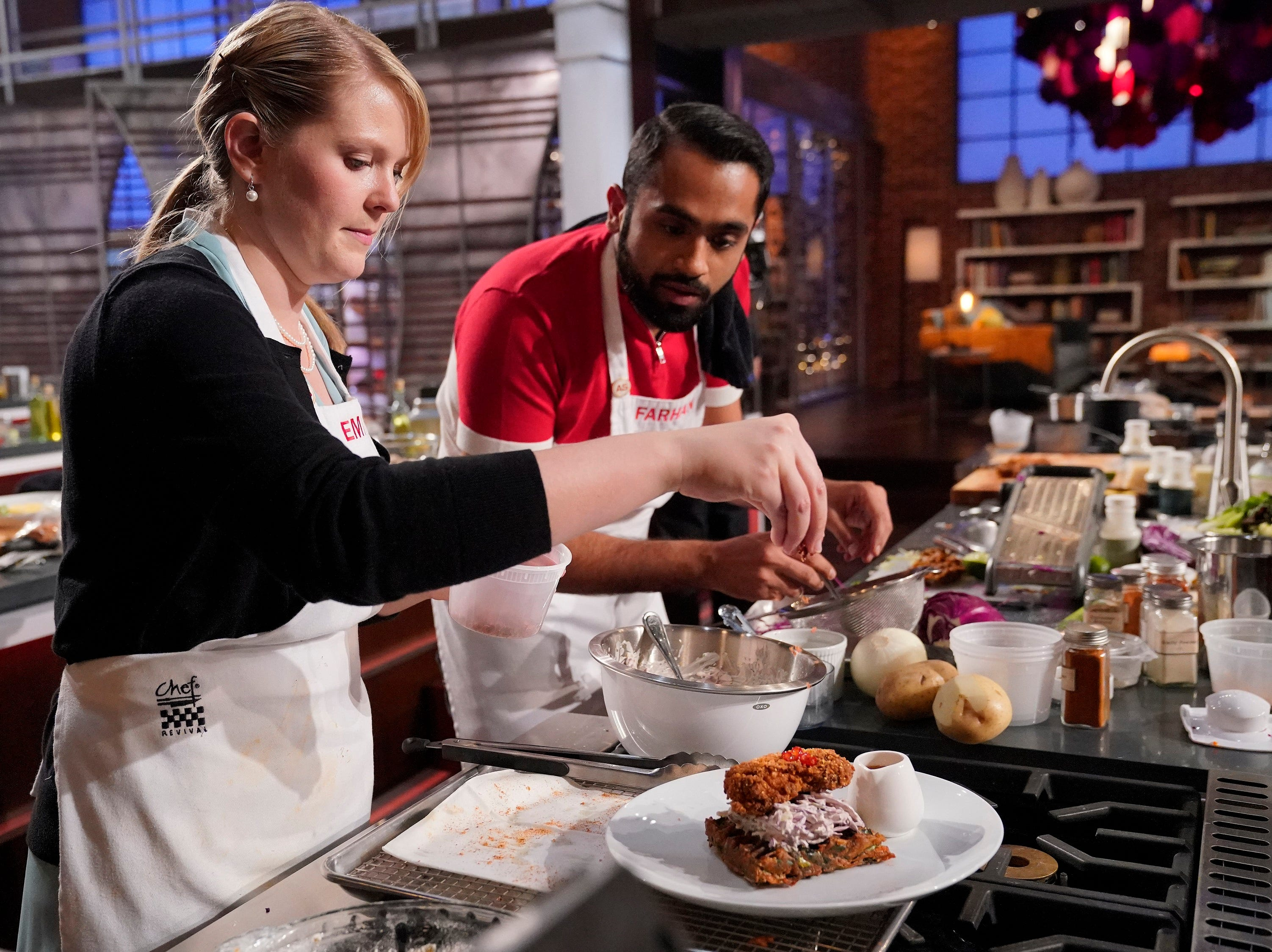 "Emily Hallock teams with Farhan Momin in an episode of ""MasterChef."""