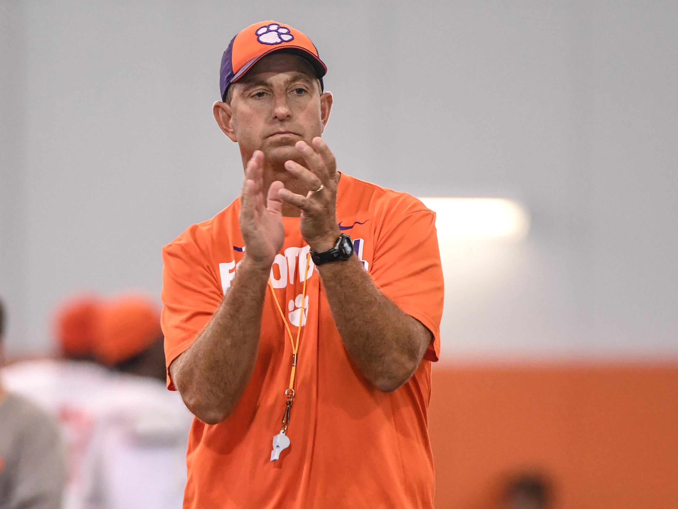 Clemson head coach Dabo Swinney claps during fall practice in Clemson on Wednesday.
