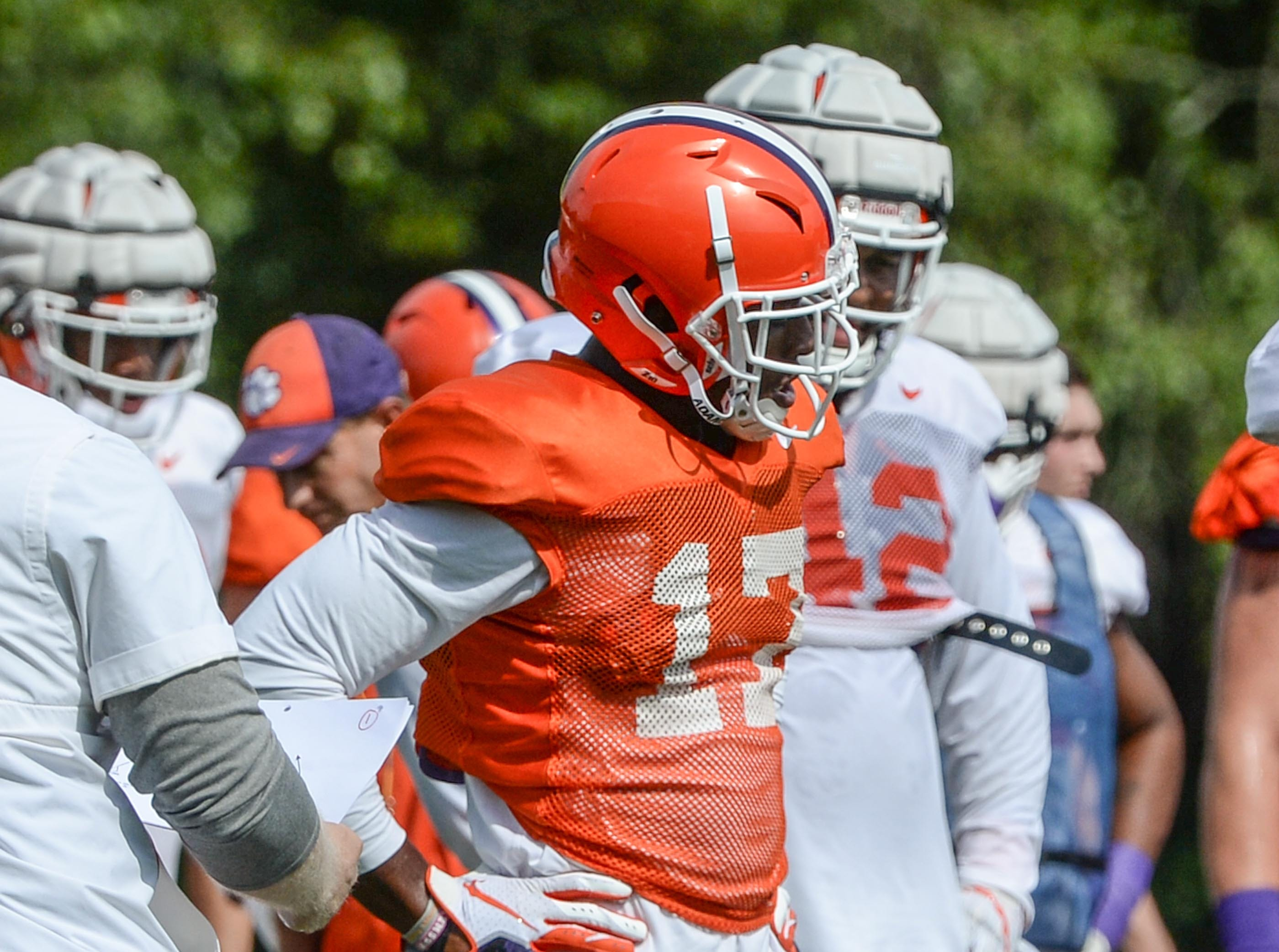 Clemson defensive end Justin Mascoll (17) during fall practice in Clemson on Wednesday.