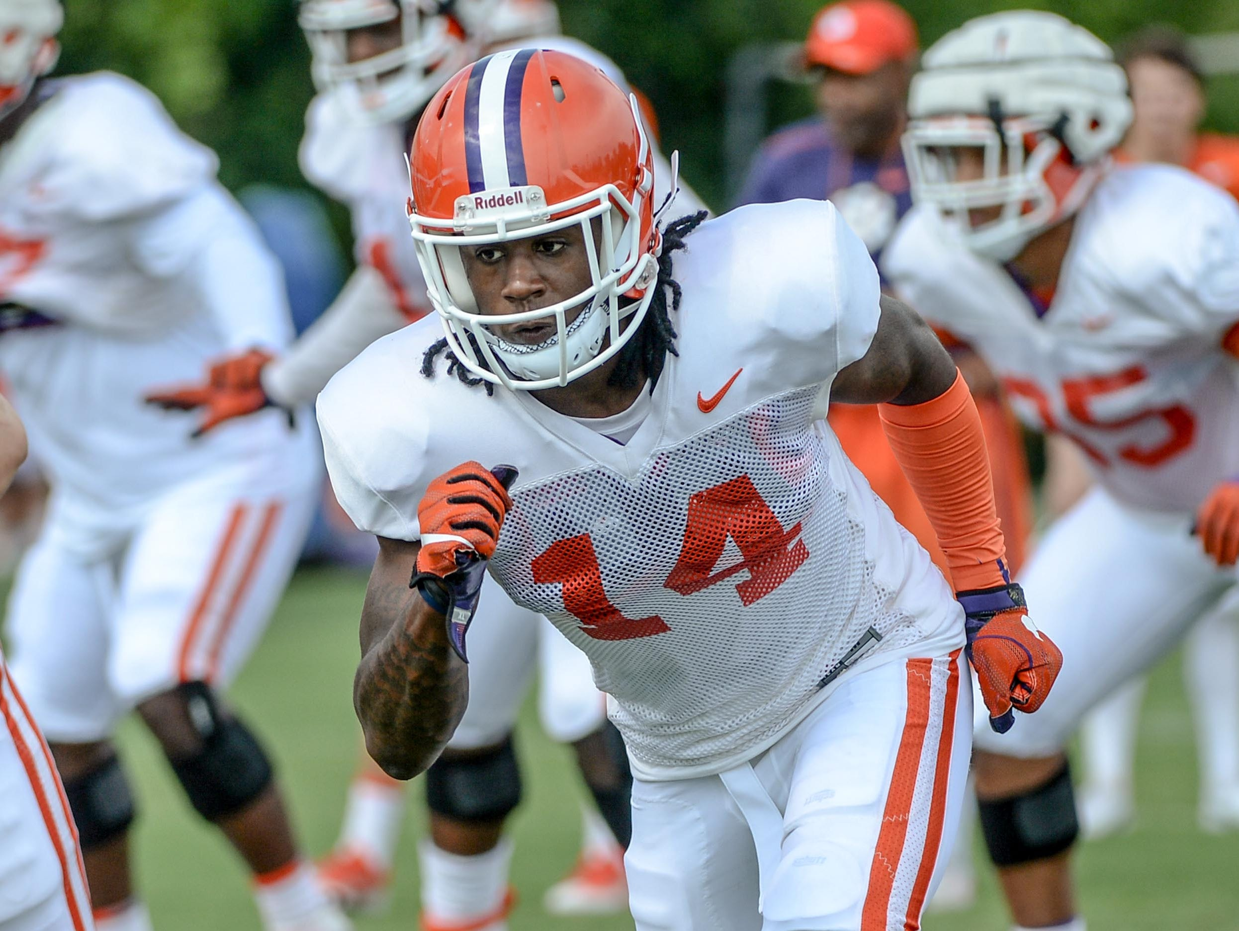 safety Denzel Johnson (14) during fall practice in Clemson on Wednesday.