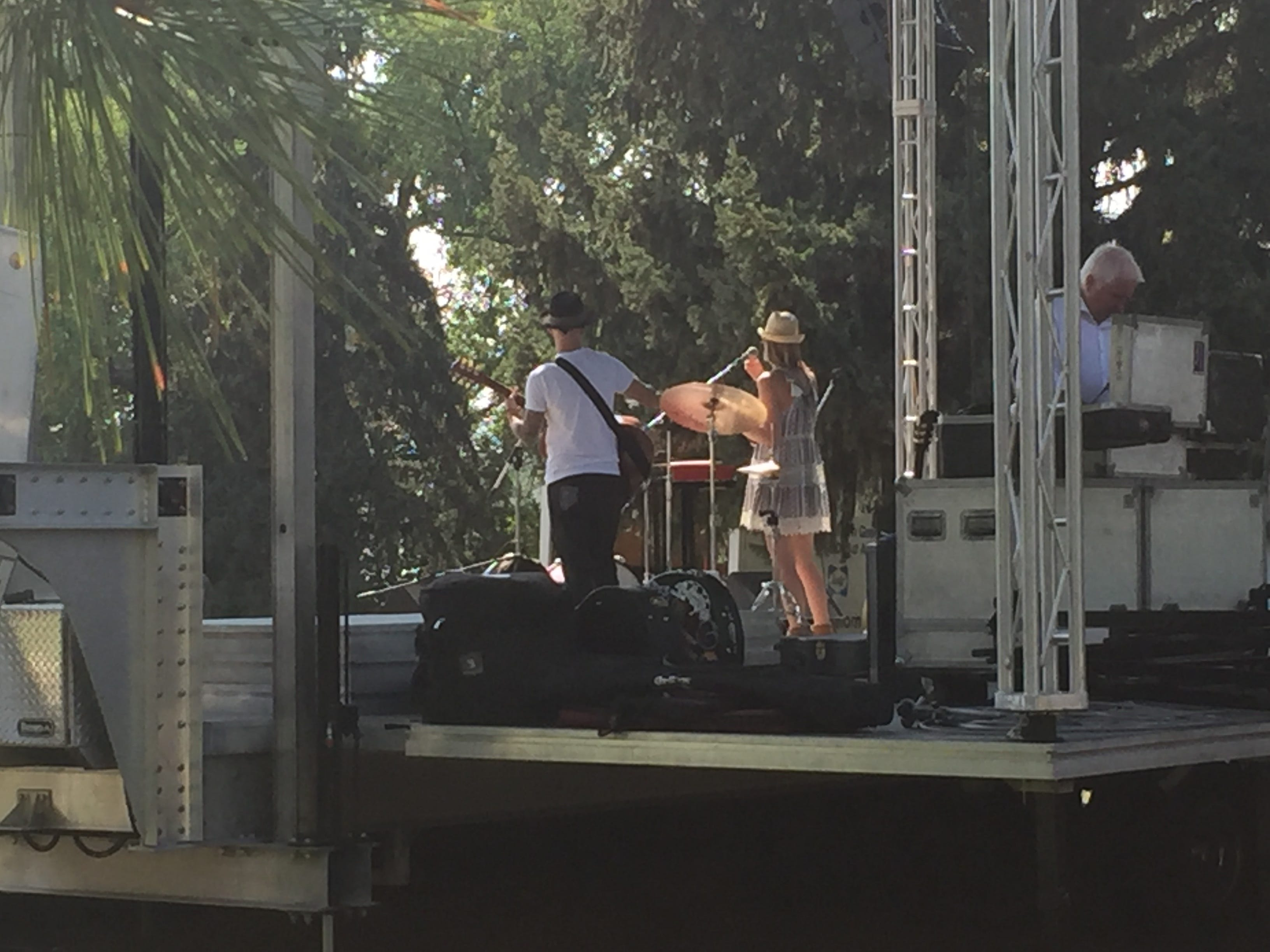 Preparring for a hot night of Music on the Mo at Oddfellows Park in Great Falls Thursday.