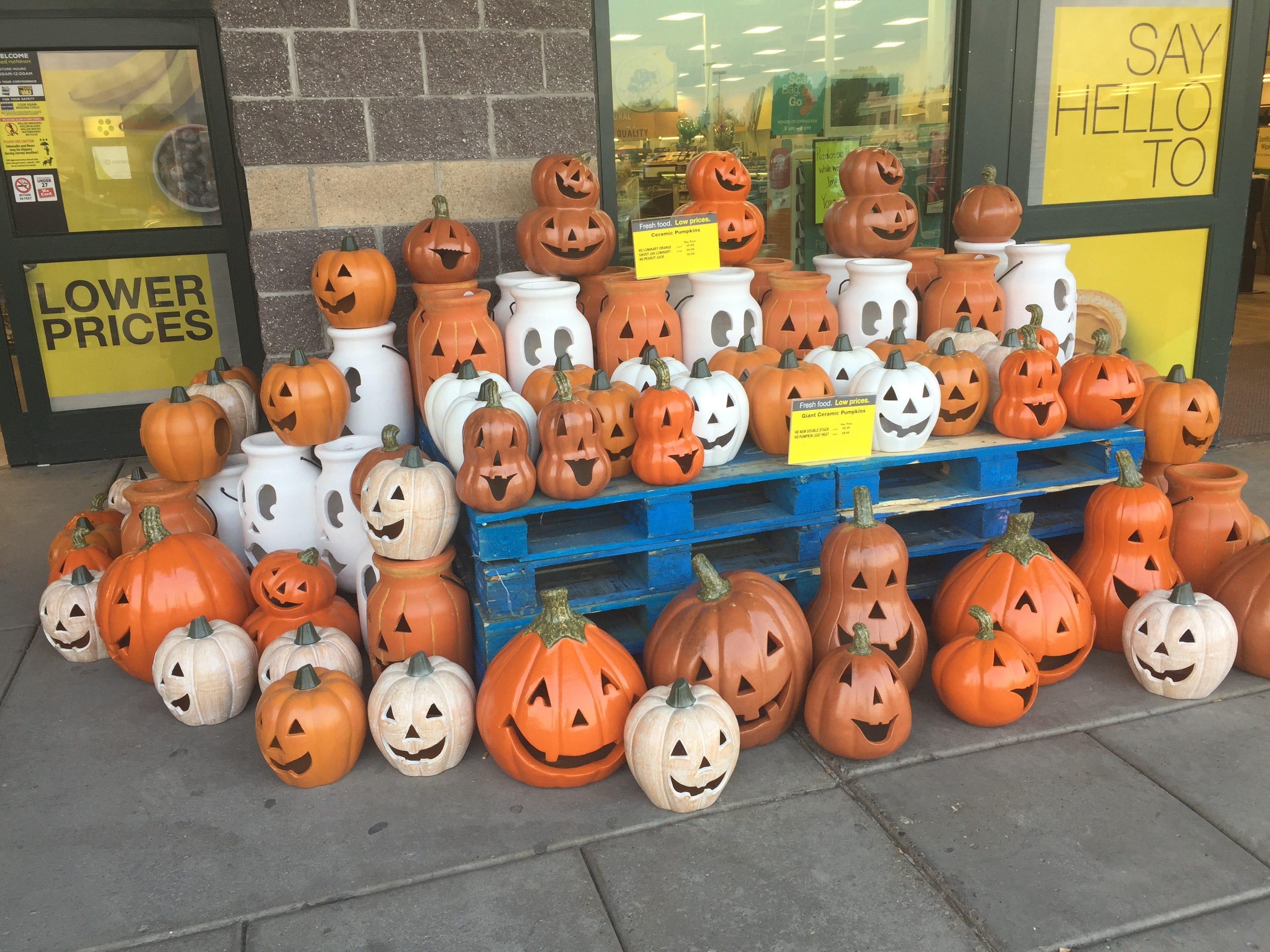 The jack-o-lantern display at Smith's in Marketplace awaits record-high temperatures in Great Falls...in August.