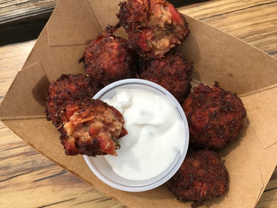 YaYa's Tomato Balls with tzatziki at the 2018 Indiana State Fair.