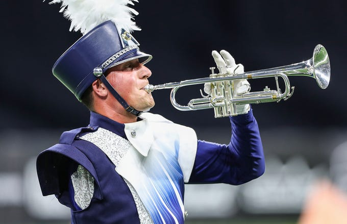 Aaron Manning of River City Rhythm in Anoka, Minn., competes in Drum Corps International World Championship Prelims at Lucas Oil Stadium in Indianapolis, Thursday, Aug. 9, 2018. Finals will be held Saturday, Aug. 11 at Lucas Oil Stadium.