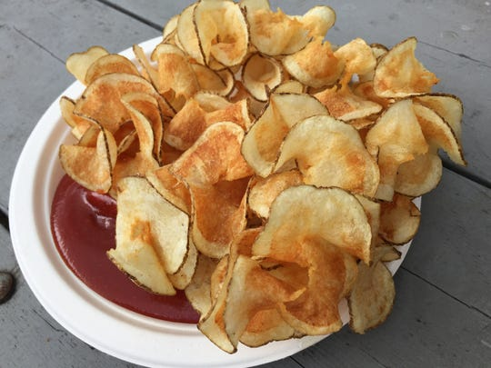 Ultra-thin, spiral-cut, deep-fried potatoes at King Taters stands at the 2018 Indiana State Fair.