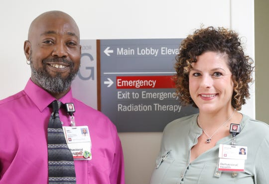 Peer recovery coaches Dru Gaddie, left, and Kristen Wisler are shown here at IU Health Methodist Hospital on Thursday, Aug. 9, 2018.