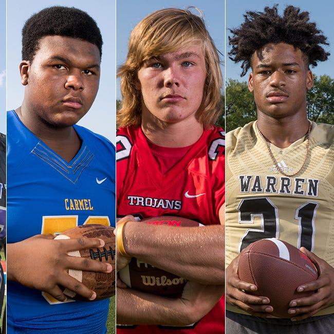 Left to right: Ben Davis' Dawand Jones, Carmel's Caleb Shaffer, Center Grove's Carson Steele and Warren Central's Romeir Elliott.