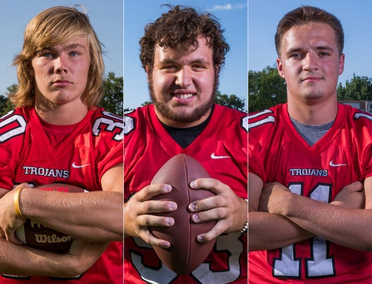 Left to right: Center Grove's Carson Steele, Lucas Hunter and P.J. Buck.