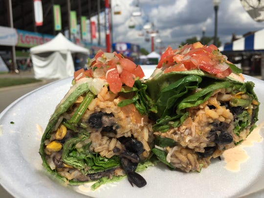 The spinach and black bean burrito at Tad's Bodacious Burrito, on Main Street across from Hoosier Lottery Grandstand, at the 2018 Indiana State Fair.