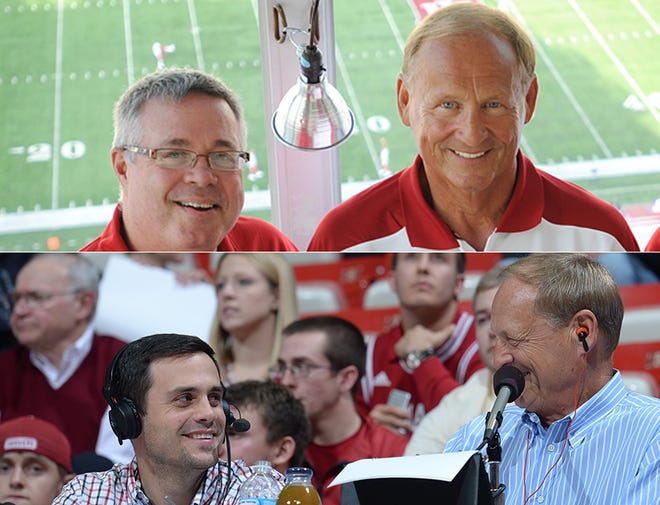Top: Buck Suhr and Don Fischer call IU football games on radio, while Buck's son, Errek (bottom), joins Fischer on basketball games.