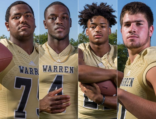 Warren Central's offense is loaded with the likes of Justin Britt (far left), David Bell (second from left), Romeir Elliott (second from right) and Jayden George (far right).