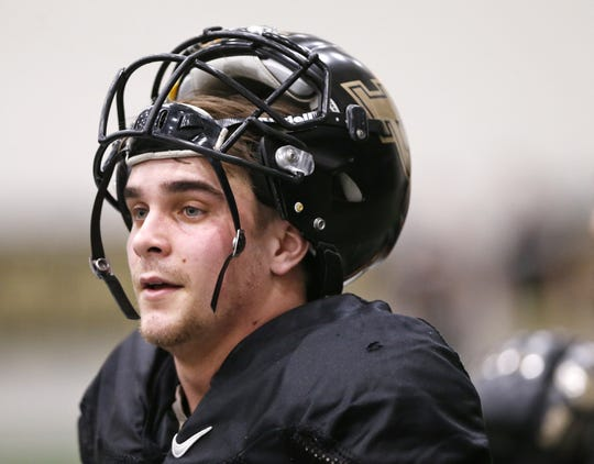 Sophomore wide receiver Jackson Anthrop during Purdue spring football practice Thursday, March 1, 2018, inside the Mollenkopf Athletic Center.