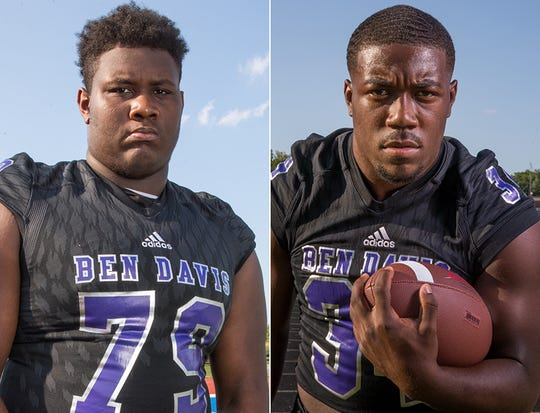 Dawand Jones (left) will help clear the way for running back Delbert Mimms (right) this season for Ben Davis.