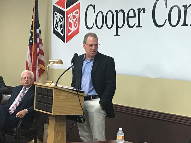Welch Packaging CEO Scott Welch speaks at the announcement on Thursday about the company's expansion in Lexington.
