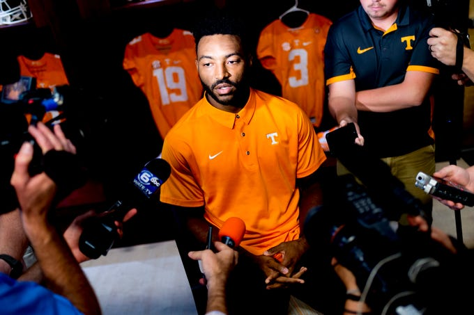 Tennessee defensive back Micah Abernathy (22) speaks during a press conference at the Roy & Lucy Hand Digital Studio in Knoxville, Tennessee on Thursday, August 9, 2018.