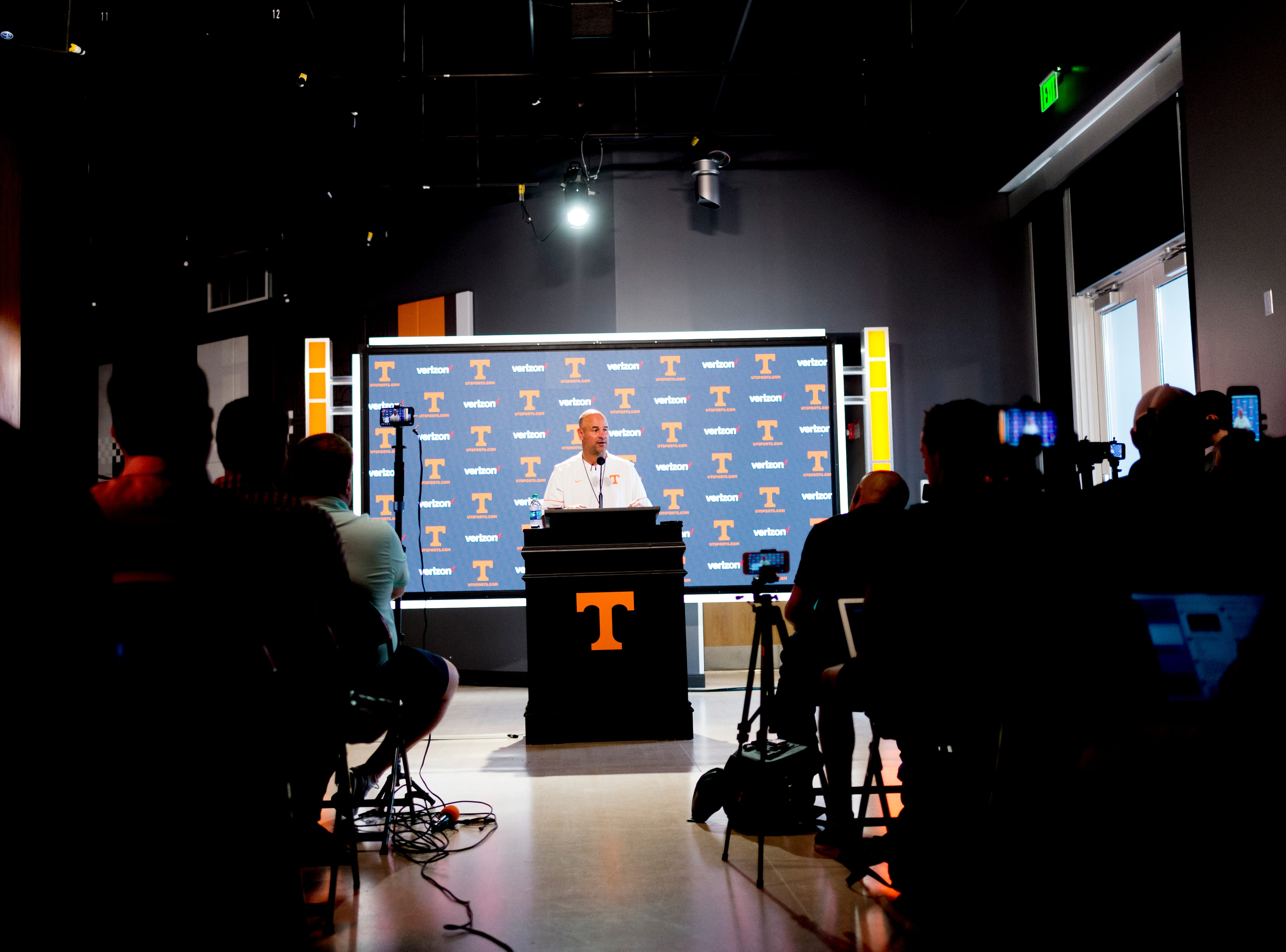 Tennessee Head Coach Jeremy Pruitt speaks during a press conference at the Roy & Lucy Hand Digital Studio in Knoxville, Tennessee on Thursday, August 9, 2018.