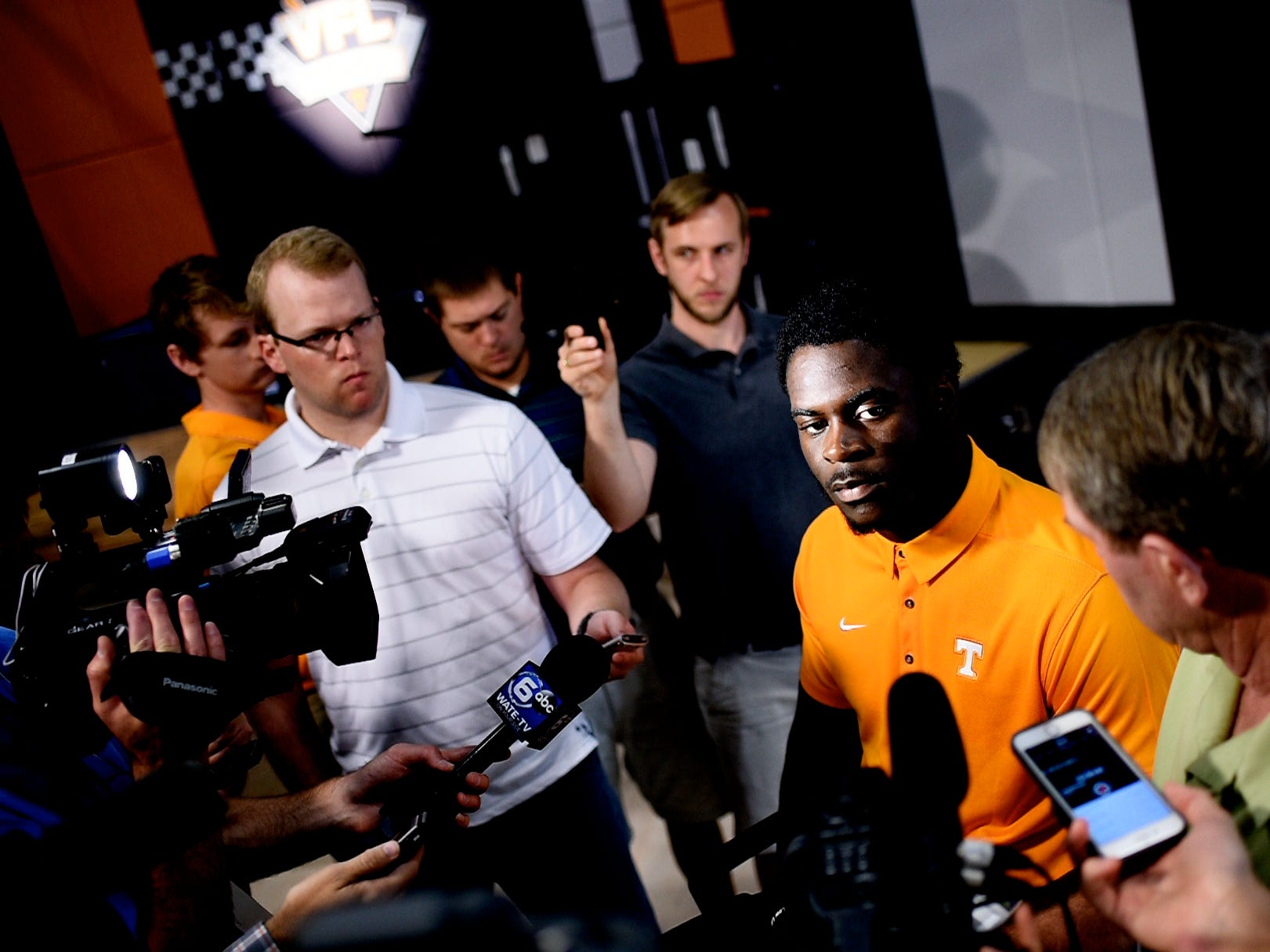 Tennessee linebacker Darrell Taylor (19) speaks during a press conference at the Roy & Lucy Hand Digital Studio in Knoxville, Tennessee on Thursday, August 9, 2018.