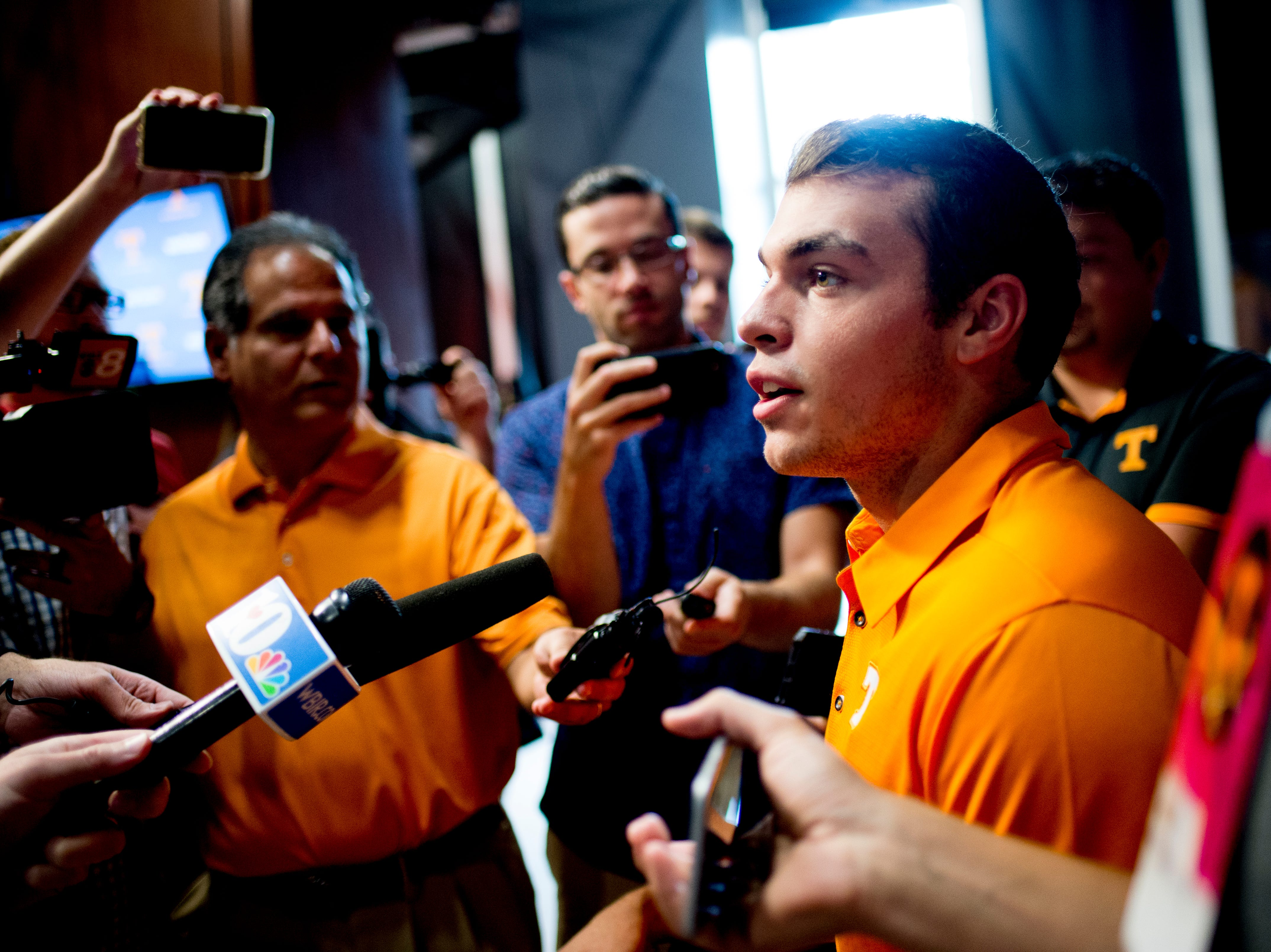 Tennessee long snapper Riley Lovingood (46) speaks during a press conference at the Roy & Lucy Hand Digital Studio in Knoxville, Tennessee on Thursday, August 9, 2018.