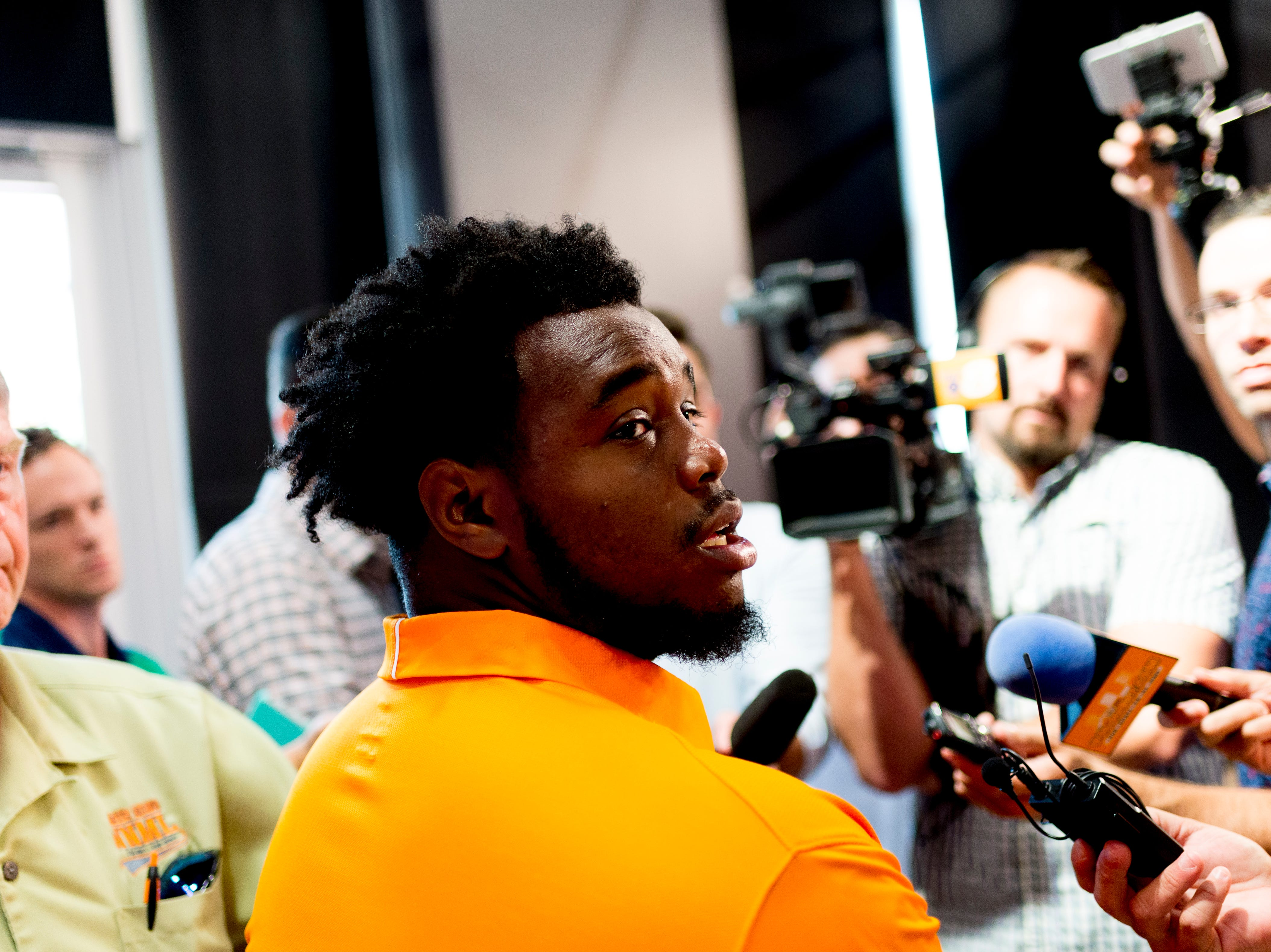 Tennessee offensive lineman Brandon Kennedy (55) during a press conference at the Roy & Lucy Hand Digital Studio in Knoxville, Tennessee on Thursday, August 9, 2018.